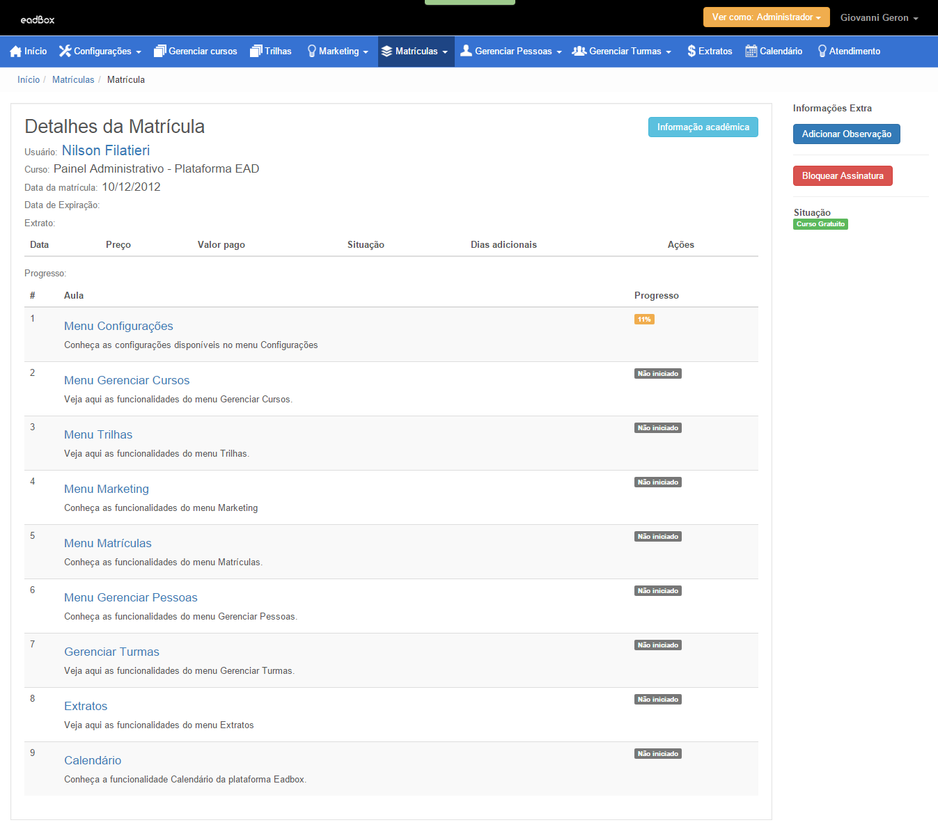 Gerenciar Matrículas na Plataforma Eadbox