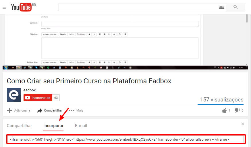 Vídeos do Youtube na Eadbox